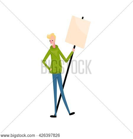 Flat Character Of Activist With Blank Demonstration Banner Vector Illustration