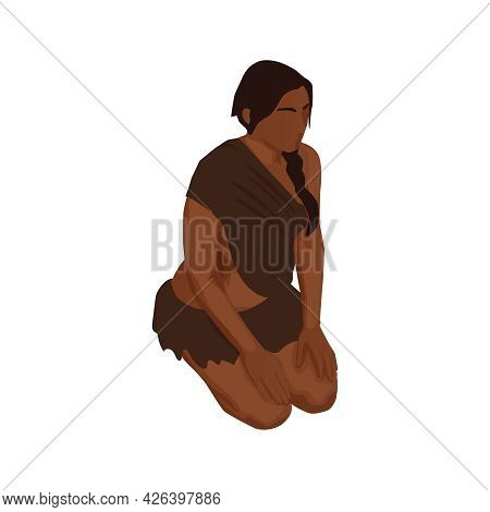 Isometric Character Of Dark Skinned Primitive Woman Sitting On Her Knees 3d Vector Illustration