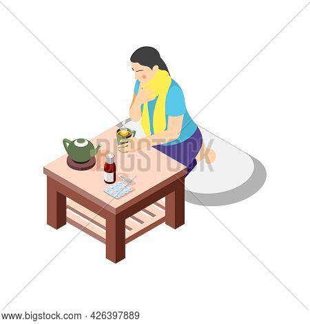 Flu Isometric Icon With Woman Having Sore Throat Drinking Hot Tea 3d Vector Illustration