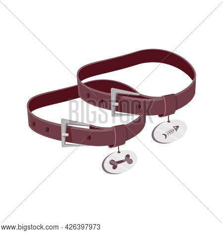 Two Leather Pet Collars With Medallions For Cat And Dog Vector Illustration