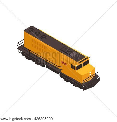Isometric Icon With Yellow Freight Train Wagon Vector Illustration