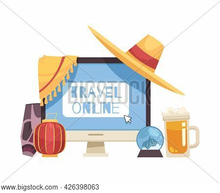 Travel Booking Online Cartoon Composition With Computer Monitor Souvenirs And Attributes From Variou