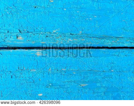 Texture Of Old Painted Shabby Rustic Wooden Fence Made Of Planks, With Rusty Nails, Grunge Backgroun