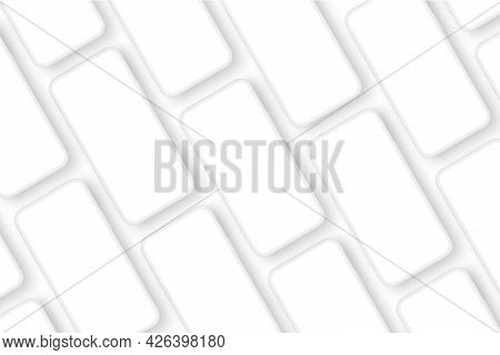 Clay Smartphones Screens Mockups For App Design Presentation, Isolated On White Background. Vector I