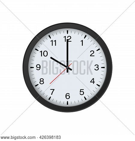 Circle Black Clock Mockup Showing 10 O'clock Isolated On White Background. Vector Illustration