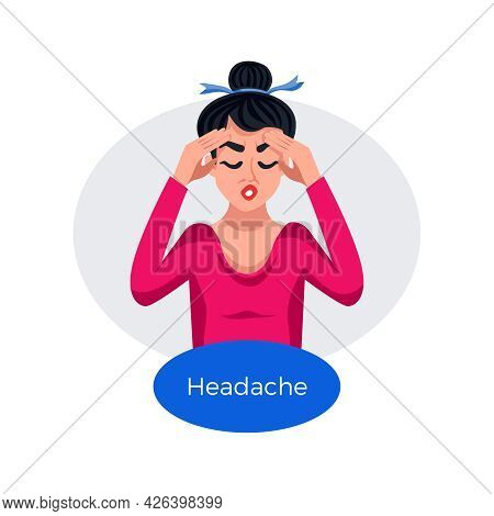 Premenstrual Syndrome Flat Poster With Woman Suffering From Headache Vector Illustration