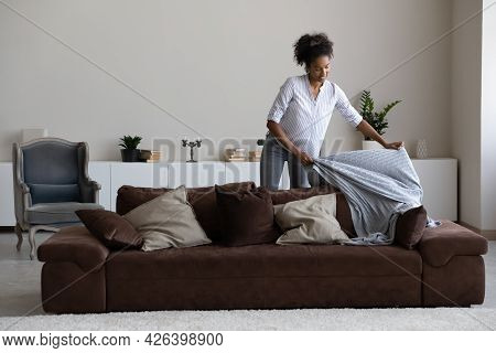 Smiling African American Woman Tenant Cleaning Or Decorating Modern Apartment