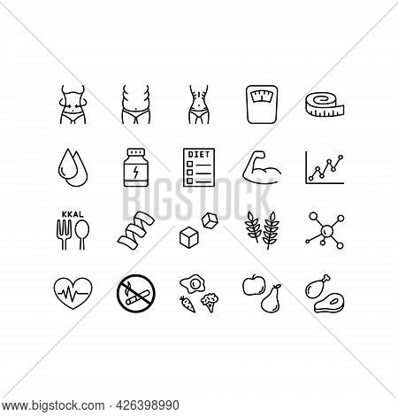 Healthy Lifestyle Flat Line Icons Set. Diet Food, Fitness, Sports Supplements. Simple Flat Vector Il