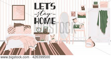 Cozy Interior Of Bedroom In Scandinavian Cartoon Style. Concept With Text Let's Stay Home. Design Of