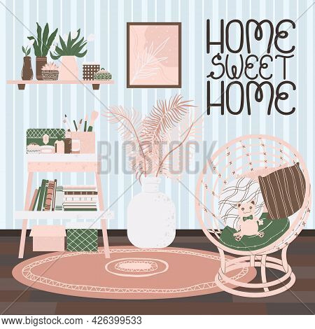 Living Room Interior, Hand Drawn Scandinavian Style. Background With Handwritten Slogan Home Sweet H