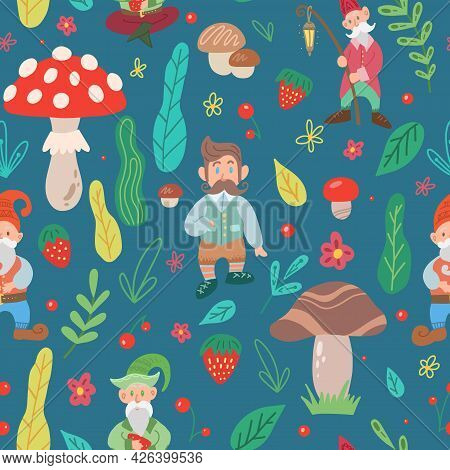 Simple Childish Pattern With Gnomes And A Natural Pattern. Texture With Leprechauns, Foliage, Mushro