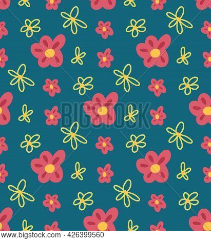 Simplicity Childish Pattern With Pink Flowers On Blue Background. Vector Natural Flat Texture With O