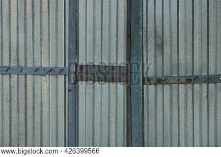 Gray White Metal Texture From Old Iron Shabby Wall With Seams