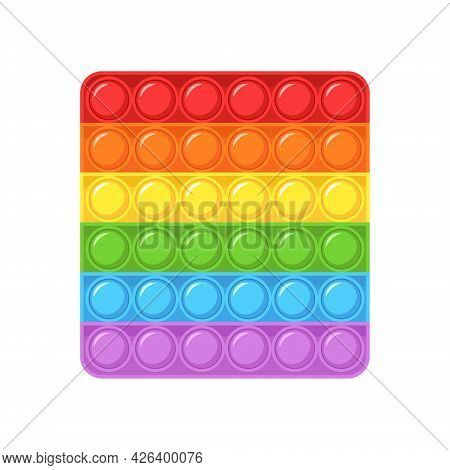 Pop It Fidget. Square Shaped Antistress Children Game. Trendy Sensory Plaything. Colorful Hand Toy W