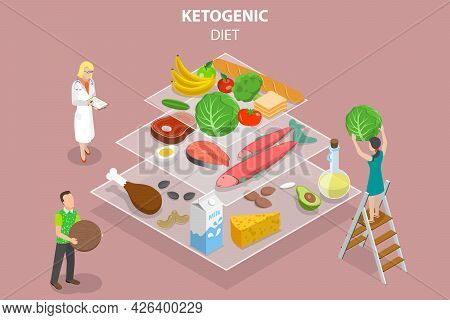 3d Isometric Flat Vector Conceptual Illustration Of Ketogenic Diet Food Pyramid, Low Carbs And High