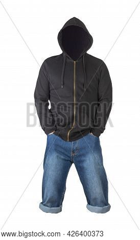 Denim Dark Blue Shorts And Black  Hoodie  Isolated On White Background. Men's Jeans