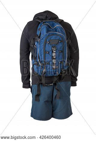 Denim Blue  Backpack,black Sweatshirt With A Hood,dark Blue Shorts Isolated On White Background. Spo