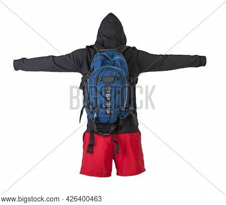 Denim Blue  Backpack,black Sweatshirt With A Hood,red Shorts Isolated On White Background. Sportswea