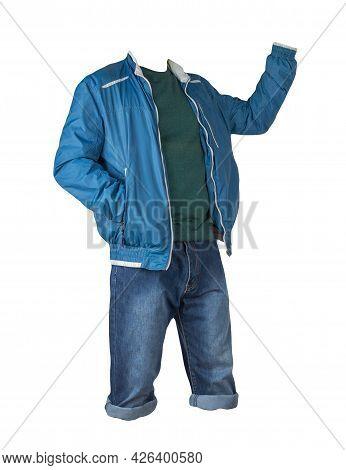 Denim Blue Shorts,green Sweater And Blue White Windbreaker Jacket On The Zipper Isolated On White Ba