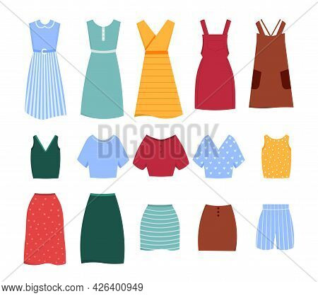 Set Of Cute Colorful Female Casual Summer Clothes On White Background. Dress, Shorts, Top, Blouse, S