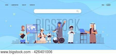 Arab Schoolchildren Using Digital Gadgets School Clildren Having Fun Cityscape Background