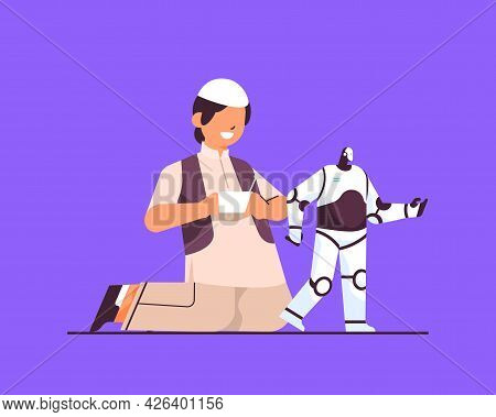 Arab Schoolboy Playing With Radio Controlled Robotic Toy Smiling Boy Having Fun Full Length