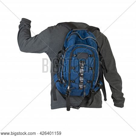 Gray Sweatshirt And Blue  Backpack Insulated On White Background