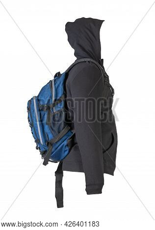 Black Hoodie And Blue  Backpack Insulated On White Background