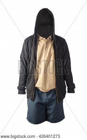 Black Sweatshirt With Iron Zipper Hoodie,beige  Shirt And Dark Blue Sports Shorts Isolated On White
