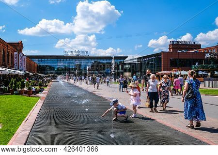 Lodz, Poland - June 27, 2021: Inner Square Of Manufaktura, An Arts Centre, Shopping Mall, And Leisur
