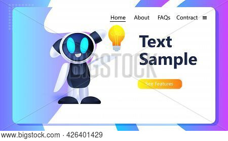 Cute Robot Cyborg Holding Light Lamp Modern Robotic Character With Bright Bulb New Project Creative