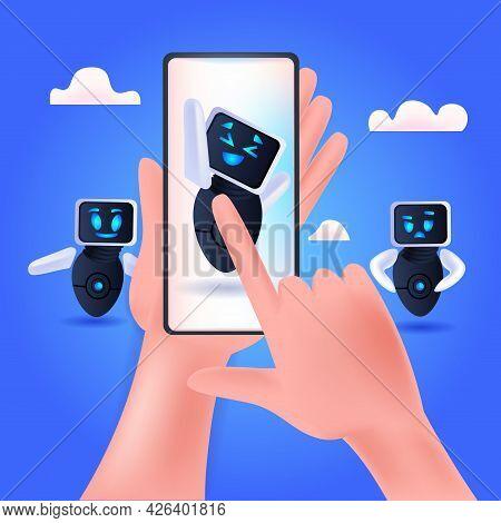 Cute Robot Cyborg On Smartphone Screen Modern Robotic Character Waving Hand Artificial Intelligence
