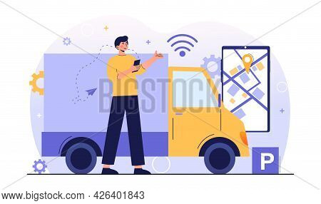 Male Character Near Truck Connected Into Platoon With Connectivity Technologies. Concept Of Truck Pl