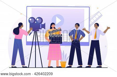 Male And Female Characters Working In Video Production. Cameraman With Camera Shooting Film. Concept