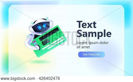 Cute Robot Cyborg Holding Credit Card Modern Robotic Character Artificial Intelligence Technology Co