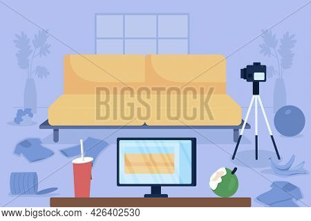 Messy Vlogger Living Room Flat Color Vector Illustration. Unhealthy Lifestyle. Garbage On Floor. Jun