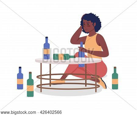 Alcoholic Woman Semi Flat Color Vector Character. Drunk Person. Sitting Figure. Full Body Person On