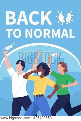 Back To Normal After Covid Poster Flat Vector Template. Return To Normal Routine. Brochure, Booklet