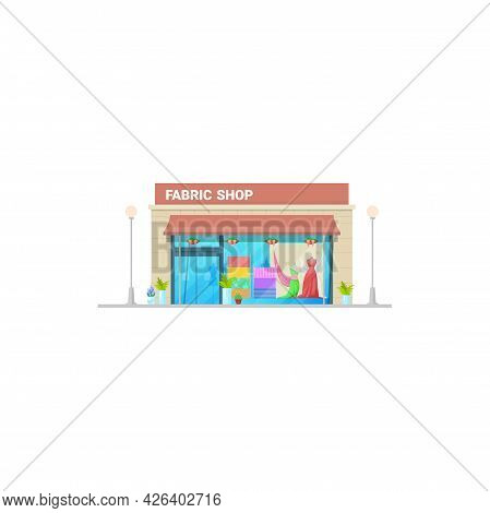 Fabric Shop, Tailor And Sewing Fashion Cloth Store Display, Vector Isolated Building. Seamstress Clo