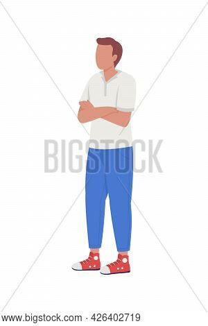 Man Tired Of Waiting Semi Flat Color Vector Character. Brown-haired Figure. Full Body Person On Whit