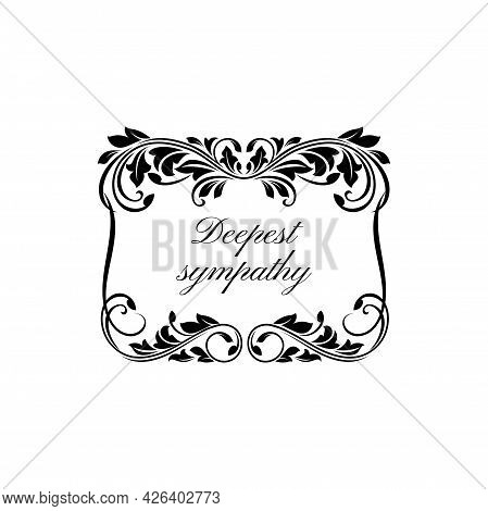 Funeral Condolence And Obituary Floral Wreath Card Of Vector Black Rose Flowers. Death Rip And Deepe