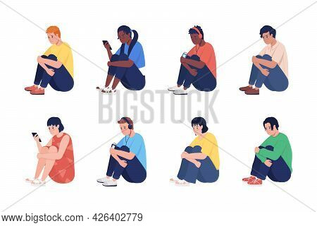 Lonely Sad Teenager Semi Flat Color Vector Character Set. Sitting Figure. Full Body People On White.