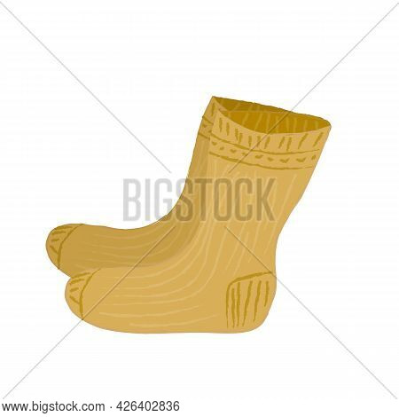 Warm Wool Knitted Socks In Beige Color. A Warming Accessory For Cold Weather. Vector Illustration In