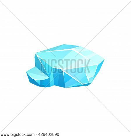 Crystal Ice Icon Or Iceberg, Frozen Cube Of Glass Or Snow, Vector Blue Cold Frost Rock. Frozen Water