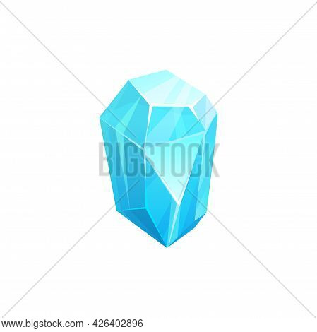 Crystal Ice Or Iceberg, Frozen Cube Or Glass Or Snow And Gem, Vector Frost Rock Or Gemstone. Frozen