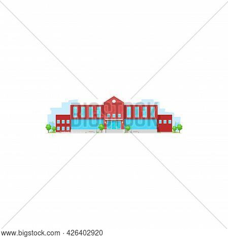 School Building, College Or University Campus, Flat Vector Icon Isolated. Education Architecture Hou