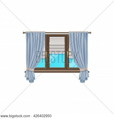 Window Curtains Or Blind Drapes And Shutter Roller Jalousie, Vector Flat Isolated Icon. Classic Wind