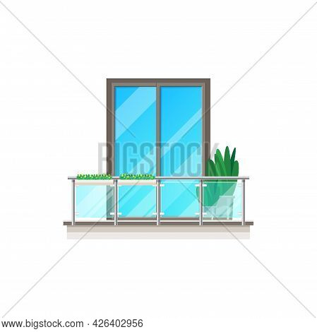 Balcony Window, House With Glass Fence Banister, Vector Building Facade With Railing. Architecture A
