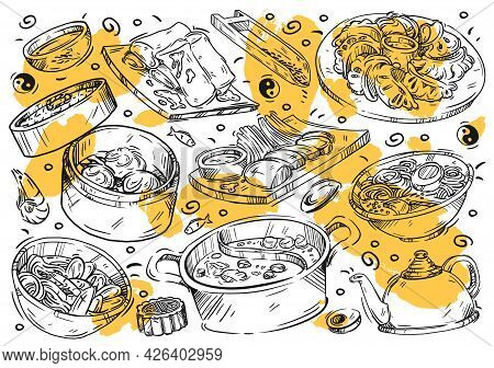 Hand Drawn Vector Line Illustration Food. Doodle Chinese Cuisine: Spring Rolls, Tom Yum Soup, Ramen,