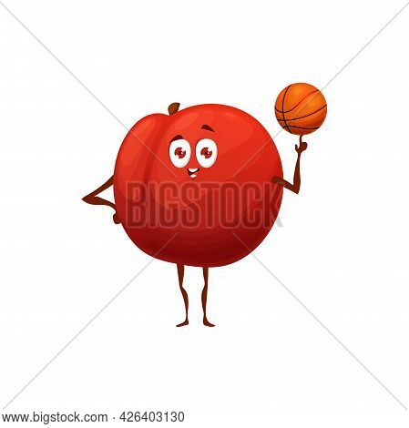 Apple Fruit Playing Basketball, Healthy Food In Fitness And Sport Activity, Vector Cartoon Character